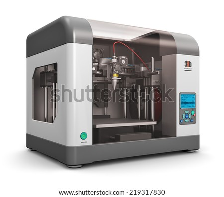 Creative abstract new technologies concept: modern professional plastic 3D printer isolated on white background - stock photo
