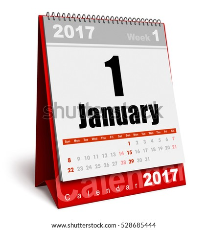 Creative abstract New Year 2017 beginning celebration business concept: 3D render illustration of the red office desktop January 2017 month calendar isolated on white background