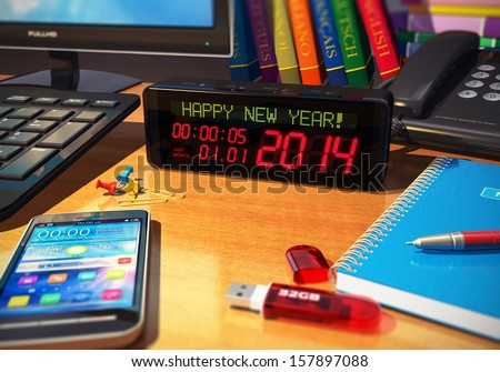 Creative abstract New Year 2014 beginning celebration business concept: macro view of digital alarm clock with Happy New Year! message on wooden table among other office objects with selective focus - stock photo