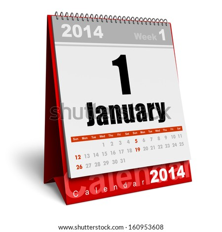 Creative abstract New Year 2014 beginning celebration business concept: red office desktop January 2014 month calendar isolated on white background - stock photo