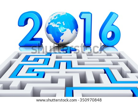 Creative abstract New Year 2016 business office communication concept: path across labyrinth to 2016 year with blue Earth globe isolated on white background with reflection effect - stock photo