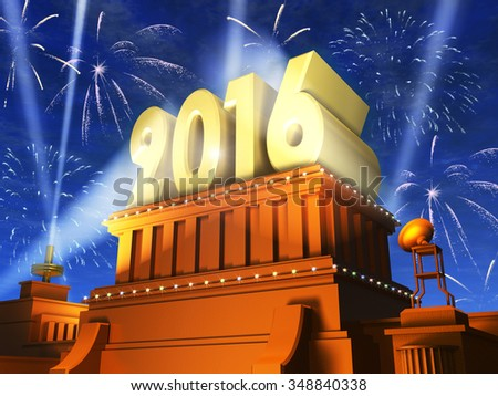 Creative abstract New Year 2016 celebration concept: shiny golden 2016 text on pedestal at night with fireworks in cinema style - stock photo