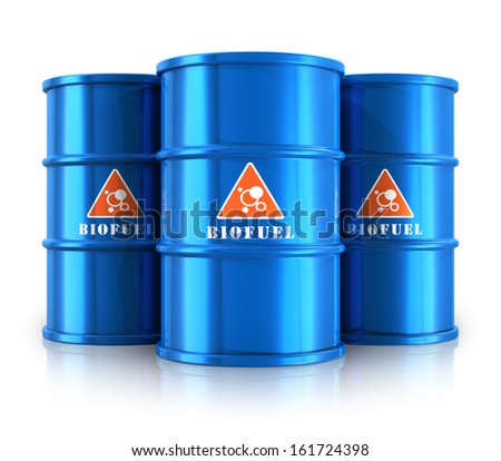 Creative abstract oil and gas fuel manufacturing industry business concept: group of blue metal barrels or drums with ecological natural biofuel isolated on white background with reflection effect - stock photo