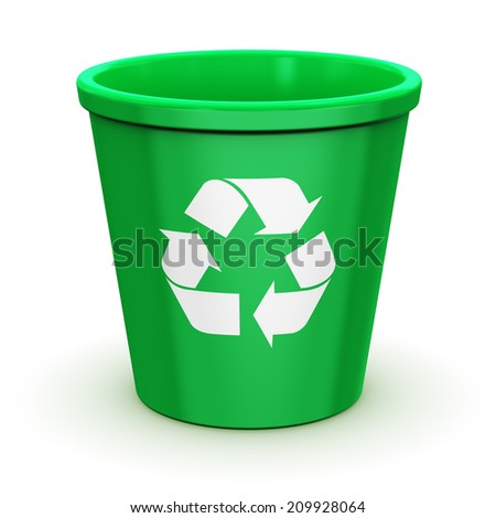 Creative abstract paper recycling, environment protection and nature saving business concept: empty green office recycle bin with recyclable symbol, icon or sign isolated on white background