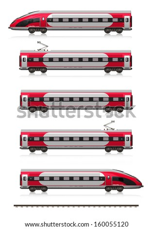 Creative abstract railroad travel and railway tourism transportation industrial concept: modern high speed train set (locomotive, cars and rail fragment) isolated on white background with reflection - stock photo