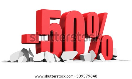 Creative abstract sale and discount business commercial advertisement concept: red 50 percents price cut off text on cracked surface isolated on white background - stock photo