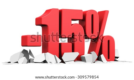 Creative abstract sale and discount business commercial advertisement concept: red 15 percents price cut off text on cracked surface isolated on white background - stock photo