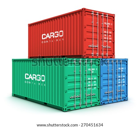 Creative abstract shipping, logistics and freight transportation commercial business trading industrial concept: set of stacked metal color cargo containers isolated on white background - stock photo