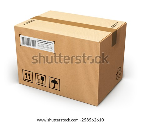 Creative abstract shipping, logistics and retail parcel goods delivery commercial business concept: corrugated cardboard box package isolated on white background