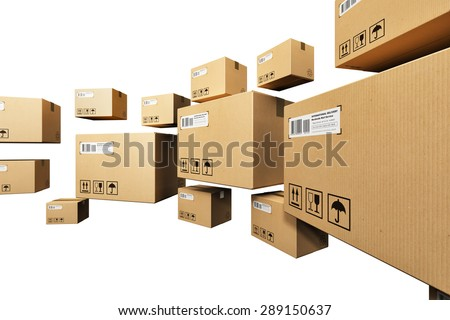 Creative abstract shipping, logistics and retail parcel goods delivery commercial business concept: group of corrugated paper cardboard box packages isolated on white background