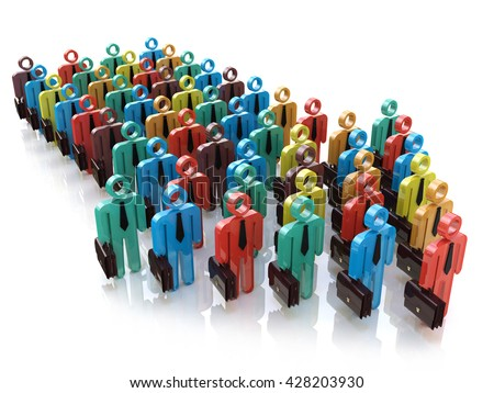 Creative abstract social communication network, business corporate teamwork and leadership concept: color people figures in arrow form moving on their way object. 3d illustration - stock photo