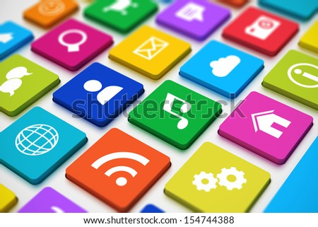 Creative abstract social media network and computer internet web www communication concept: macro view of PC keyboard with color key buttons with social networking icons with selective focus effect - stock photo