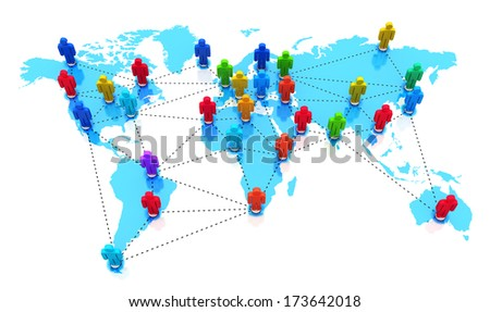 Creative abstract social media network and global internet business communication concept: group of color human people figures on blue world Earth map isolated on white background - stock photo