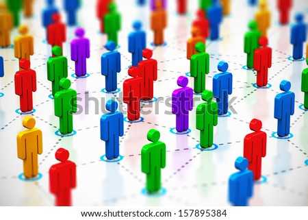Creative abstract social networking, internet web media communication, teamwork and partnership corporate business concept: macro view of crowd of color human figures connected into network