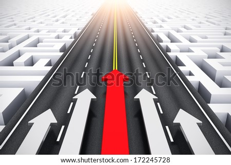 Creative abstract success, leadership and business competition challenge corporate concept: group of arrows moving by highway over endless labyrinth - stock photo
