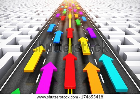 Creative abstract success, teamwork and business competition challenge corporate concept: group of color arrows moving by highway over endless labyrinth - stock photo