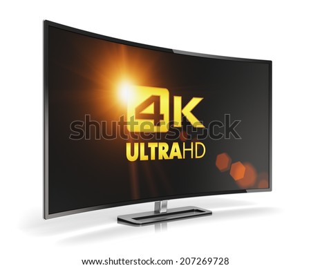Creative abstract ultra high definition digital television screen technology concept: curved 4K UltraHD TV or computer PC monitor display isolated on white background with reflection effect - stock photo
