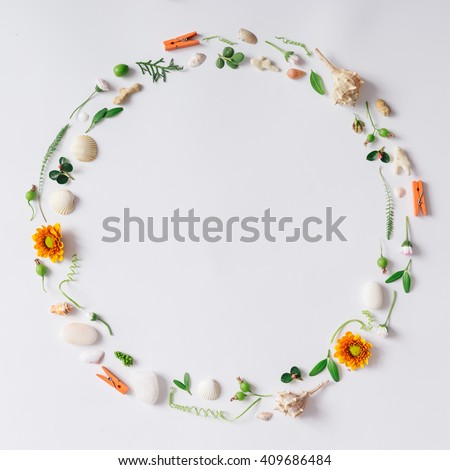 Creative arrangement made of natural summer things. Flat lay - stock photo