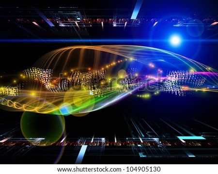 Creative arrangement of abstract sine waves and design elements as a concept metaphor on subject of modern computing, virtual reality and signal processing - stock photo