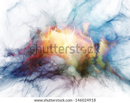 Creative arrangement of bursting strands of fractal smoke and paint as a concept metaphor on subject of design, science, technology and creativity - stock photo