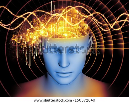 Creative arrangement of human head and symbolic elements as a concept metaphor on subject of human mind, consciousness, imagination, science and creativity - stock photo