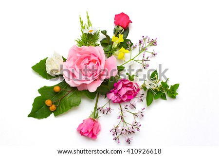 Creative arrangement of summer flowers and plants  on white background. Flat lay. - stock photo