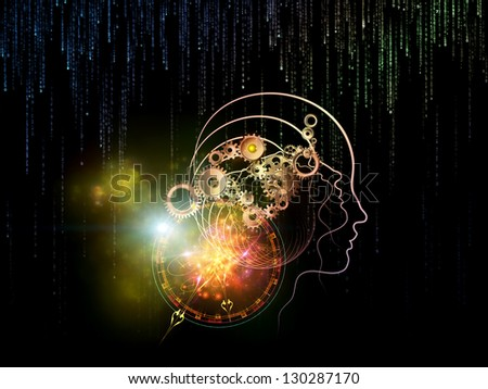 Creative arrangement of various technology related elements as a concept metaphor on subject of industry, science and education - stock photo
