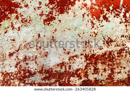 Creative background beautiful concrete carelessly painted brown and white paint, cracks and scratches. Grungy concrete surface. Great background or texture for your project. - stock photo