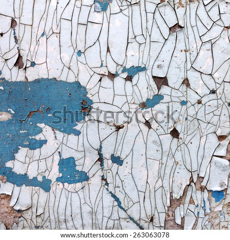 Creative background beautiful concrete carelessly painted white and blue paint, cracks and scratches. Grungy concrete surface. Great background or texture for your project. - stock photo