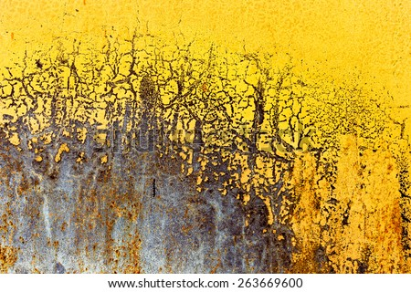 Creative background of rusty metal with cracks and scratches, casually painted yellow. Grungy metal surface. Great background or texture for your project. - stock photo