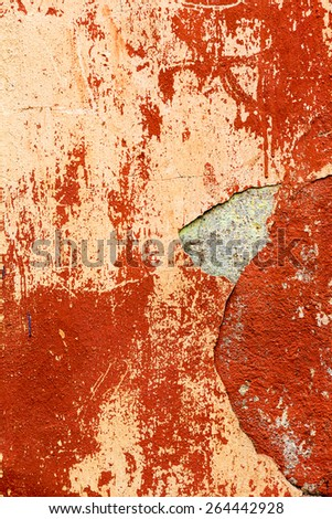 Creative background old concrete wall paint orange paint, stains water stains, cracks and scratches. Grungy concrete surface. Great background or texture for your project.  - stock photo