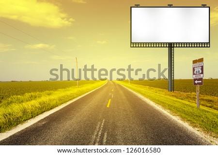 Creative Billboard With Road Background - stock photo