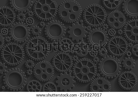 Creative black gears background for your design.