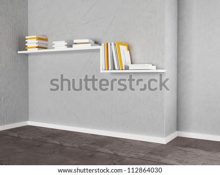creative bookshelf on the wall, rendering - stock photo