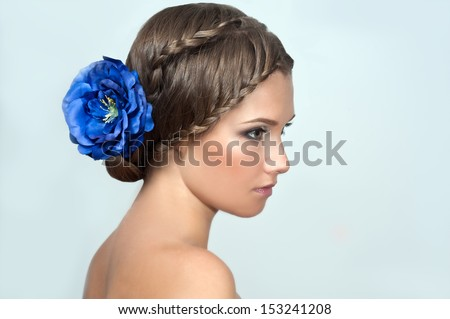 Creative braid hairstyle. Beauty wedding hairstyle. Bride - stock photo