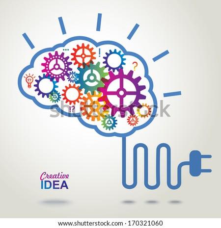 Creative Brain Idea concept background.  - stock photo
