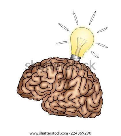 Creative Brain with light bulb - Illustration - stock photo