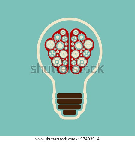 Creative bulb with brain, brain with clouds with gears working together - stock photo