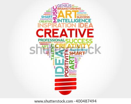 Creative bulb word cloud concept - stock photo