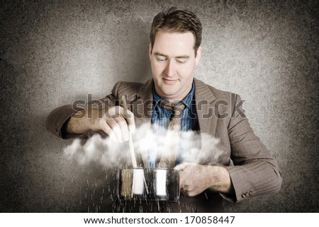 Creative business concept of a businessman stirring up a cook pot of stormy clouds with falling rain in a depiction of a strategy metaphor COOKING UP A STORM