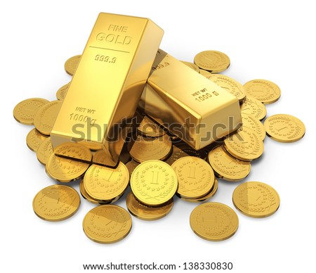 Creative business, finance, banking, stock exchange market trading and wealth concept: heap of golden ingots or bullions and gold money coins isolated on white background - stock photo