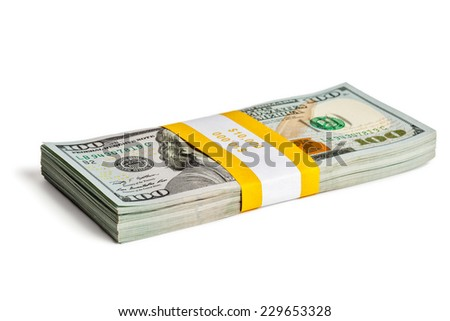 Creative business finance making money concept - bundle of 100 US dollars 2013 edition banknotes (bills) isolated on white - stock photo