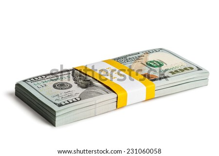Creative business finance making money concept - bundle of 100 US dollars 2013 edition banknotes (bills) isolated on white