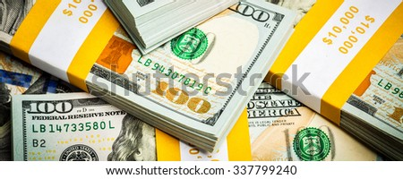 Creative business finance making money concept -  letterbox panoramic bacgkround of new 100 US dollars 2013 edition banknotes (bills) bundles close up - stock photo