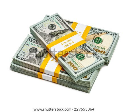 Creative business finance making money concept - stack of bundles of 100 US dollars 2013 edition banknotes (bills) isolated on white - stock photo