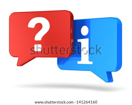 Creative business help, support and assistance concept: group of color red and blue speech balloons with question symbol and information sign isolated on white background - stock photo