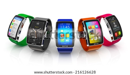 Creative business mobility and modern mobile wearable device technology concept: collection of color digital smart watches or clocks with colorful screen interface isolated on white background