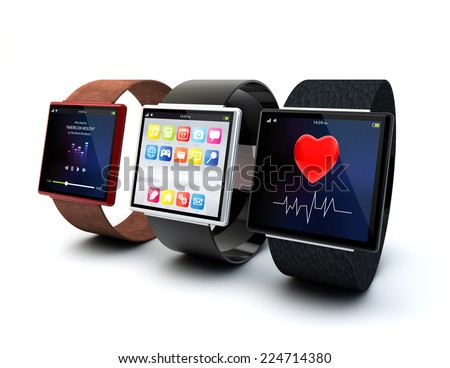 Creative business mobility and modern mobile wearable device technology concept: collection of color digital smart watches with different textures and screen isolated on white background - stock photo