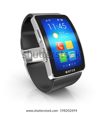 Creative business mobility and modern mobile wearable device technology concept: digital smart watch or clock with color screen interface isolated on white background with reflection effect