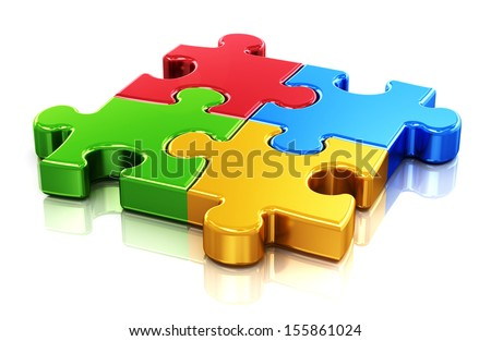 Creative business, office, teamwork, partnership and communication corporate concept: logo from four color red, blue, green and yellow puzzle jigsaw pieces isolated on white background - stock photo